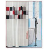 China Vinyl Shower Curtains Red Gray Black White Grid Shower Curtain WY2503 on sale