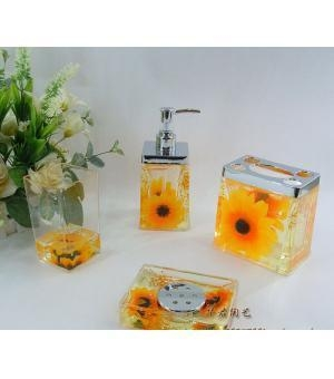 cheap bathroom accessory sunflower floral bath accessorry sets h4007