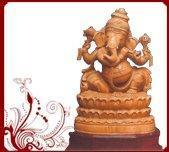 Buy cheap Handcarved Wood Ganesha Sculpture from wholesalers