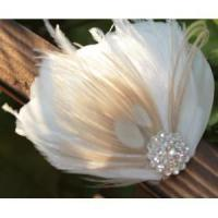 Best KISSPAT Bridal Fascinator Clip,Wedding Headpieces,Feather Accessory with White Dimaond Jewel wholesale