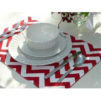 Best Set of 4 Reversible Placemats - Red Chevron & Red Striped wholesale