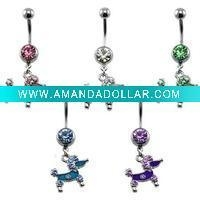 China Poodle Doggie CZ Dangle Belly Ring