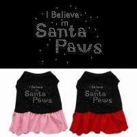 China Costumes I Believe in Santa Paws Rhinestone Pet Dog Dress Clothes on sale