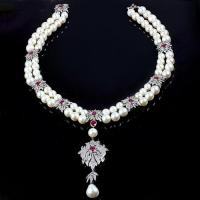 Buy cheap Pave Diamond Pearl Necklace from wholesalers