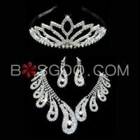 Best Weddings & Events 3 Pieces Shiny Clear Austrian Crystal Wedding Bridal Jewelry Sets wholesale