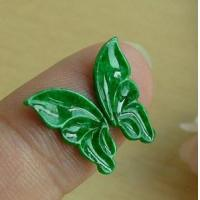Best Intense Green Jadeite Jade Carved Loose Butterfly Stone wholesale