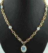 Best Faceted Rainbow Moonstone Gold Plated Necklace wholesale