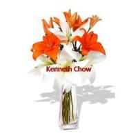 China 2 orange and 2 white Asiatic Lily Bouquet on sale