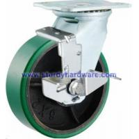 Best Heavy Duty Casters Green Polyurethane on Steel Wheel Side Brake wholesale