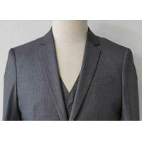 China Stripe Mens Light Gray 3 Piece SuitWorsted Wool Flat Pocket Japanese Style on sale