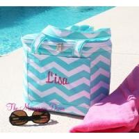 Best Monogrammed Chevron Print Insulated Cooler Tote Bag wholesale