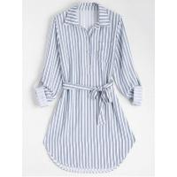 Best Women Belted Striped Long Sleeve Dress - Stripe L wholesale