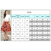 Plus Size Printed Pleated Skirts For Women