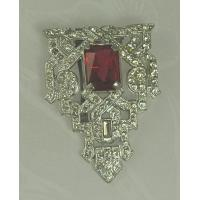 Best Unsi Impressive ART DECO Dress Clip with Faceted Red Glass Stone wholesale