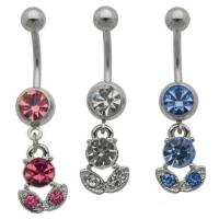 Best Cutie Rose CZ Dangle Belly Ring belly-ring-D017 wholesale