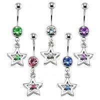 Best Lucky Star CZ Dangle Belly Ring belly-ring-D021 wholesale