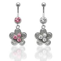 Best Classic Flower CZ Dangle Belly Ring belly-ring-D018 wholesale