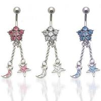 Best Moon & Star CZ Dangle Belly Ring belly-ring-D024 wholesale