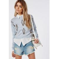 China Fashionable and cute ice cream sweater long sleeve warm woolen blue ladies pullover on sale