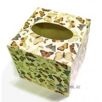 Metal Butterfly Tissue Box Cover- Cream