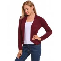 Buy cheap Wine red V-Neck Long Sleeve Open Front Slim Fit Blazer from wholesalers