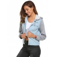 Buy cheap Light blue Patchwork Drawstring Hooded Denim Jean Jacket from wholesalers