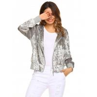 Buy cheap Grey Hooded Long Sleeve Solid Loose Velour Coat from wholesalers