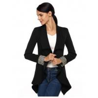 Buy cheap Black Front Open Asymmetric Hem Slim Outwear Blazer from wholesalers