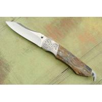 Engraved Mammoth Ivory Folder with Folding Gut Hook