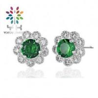 China RD 6mm Emerald Stud Earrings on sale