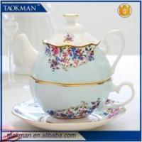 Best High quality new design cheap rose decorative teapot and cup in one set wholesale