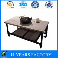China Modern Industrial Reclaimed Rectangular Metal Pipe Wooden Storage Coffee Table with Wheels on sale
