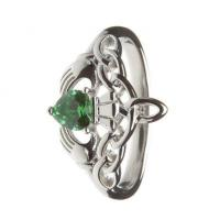 Best Sterling Silver Ladies Green CZ Claddagh Ring 14.6mm wholesale