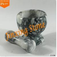 Grey Marble Mortar and Pestle, Marble Kitchenware, Stone Cooking Tool Mortar