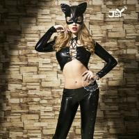 Best Role's Playing Black Long Sleeved Wet Look Cat Suit wholesale