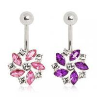Best 316L Surgical Steel Belly Button Navel Ring with CZ composed flower wholesale