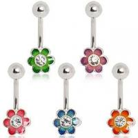 Best 316L Surgical Steel two tone Flower with CZ Belly Button Navel Ring wholesale