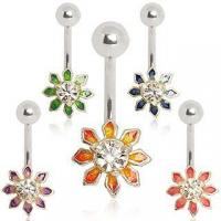 Best 316L Surgical Steel Belly Button Navel Ring with Sunflower wholesale