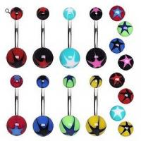 Best 316L Surgical Steel Belly Button Navel Ring with Star Burst UV Ball wholesale