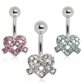 Cheap 316L Surgical Steel Belly Button Navel Ring with Ribbon Heart ITEM ID: NYS092 for sale