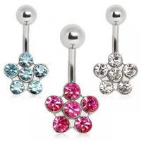 Best 316L Surgical Steel Belly Button Navel Ring with Daisy Flower ITEM ID: NYS093 wholesale