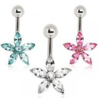 Best 316L Surgical Steel Belly Button Navel Ring with Star Shaped Flower ITEM ID: NYS095 wholesale