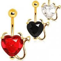 Best Devilish Heart with Gold Plated Horns & Tail Jeweled Belly Button Ring ITEM ID: NYD010 wholesale