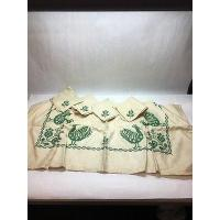 Best 1 VTG HANDMADE CROSS STITCH EMBROIDERED CARD TABLE CLOTH GREEN ROOSTE 4 NAPKINS wholesale