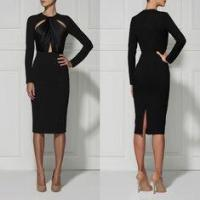 Best Black / Red Casual Cut Out Bandage Dress Long Sleeve For Women wholesale