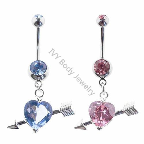 China Arrow With Heart Crystal Belly Piercing Navel Rings