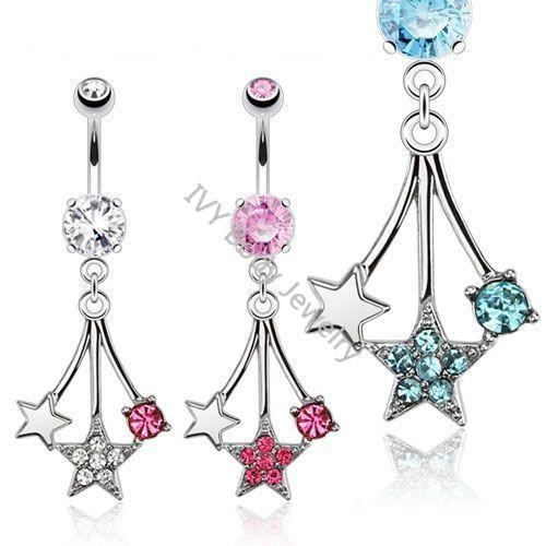 China Fancy Star Designed Pendant Belly Piercing Rings