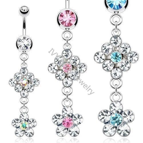 China Crystal Jeweled Flower Shaped Belly Piercing Bars