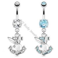 Best Unique Playboy Dangle Belly Piercing Rings With Zircon wholesale