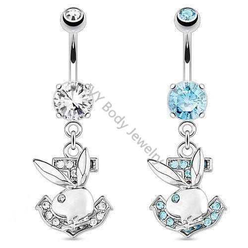 China Unique Playboy Dangle Belly Piercing Rings With Zircon
